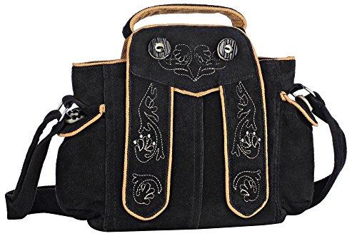 Trachten-Handtasche aus Echtleder, 20cm, schwarz