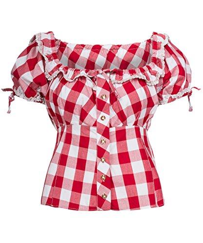 Tracht & Pracht – Damen 100% Baumwolle – Trachtenbluse – Bluse Karo Groß Rot – 50