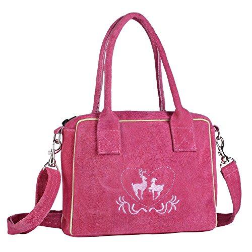 Trachten-Handtasche aus Echtleder, 23cm, pink, Henkeltasche