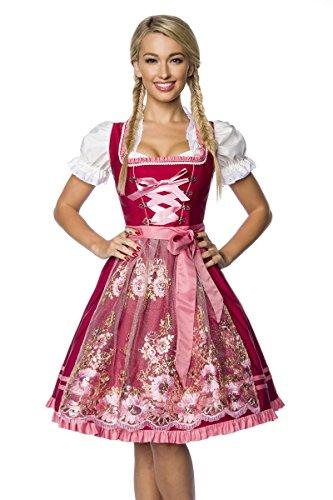 DIRNDLINE Mini-Dirndl Trachtenkleid (2-tlg. Kleid & Schürze) mit Borten und Rüschen – schimmernde Tüllschürze mit aufwendigen Stickereien – A7O022, Größe:38;Farbe:rot
