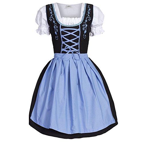 Dirndl 3 tlg.Trachtenkleid Kleid, Bluse, Schürze, Gr. 44 schwarz blau