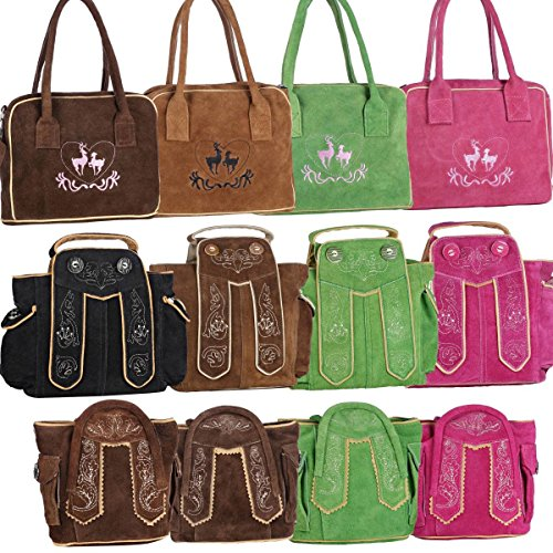 Dirndltasche Handtasche Trachten Tasche aus echtem Leder, 20cm, hellbraun