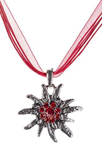 Trachtenkette Edelweiss Trachtenschmuck – Trachten Kette mit feinem Strass in div. Farben – Halskette für Dirndl und Lederhosen (Rot)