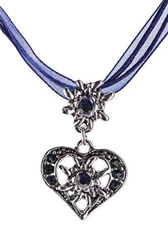 Trachtenkette elegantes Herz mit Strass und Edelweiss in vielen Farben – Anhänger Trachtenschmuck Kette für Dirndl und Lederhose Damen (Sapphire)