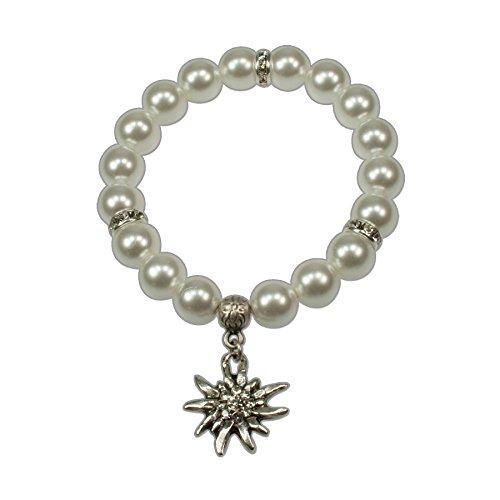 Trachtenschmuck Trachtenarmband Perlen & Strass-Edelweiss (cremeweiß) * Damen Dirndl Armband Oktoberfest