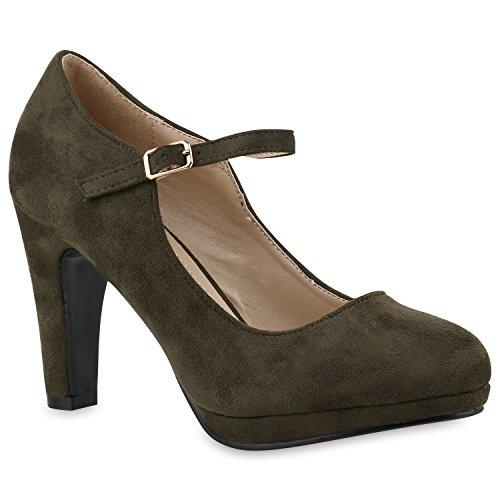 Damen Pumps T-Strap Blockabsatz High Heels Damen Mary Janes Samt Spangenpumps Lack Leder-Optik Schuhe 144600 Dunkelgrün Autol 39 | Flandell®