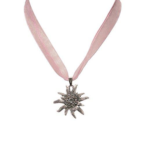 Trachtenschmuck * Trachtenkette Organzaband mit Strass-Edelweiß * Damen Dirndlkette – Organzakette * Dirndl-Schmuck Oktoberfest (rosé)