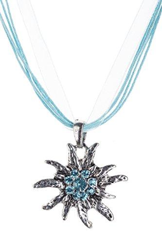 Trachtenkette Edelweiss Trachtenschmuck – Trachten Kette mit feinem Strass in div. Farben – Halskette für Dirndl und Lederhosen (Türkis)