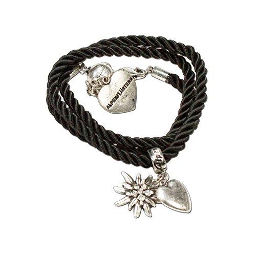 Trachtenschmuck Trachten-Kordelarmband Strass-Edelweiss (Schwarz) – Damen Dirndl Armband, Wickelarmband Oktoberfest