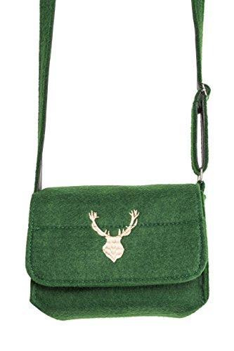 Trachtentasche Elch – Filz Trachten Tasche für Dirndl und Lederhose (Grün)