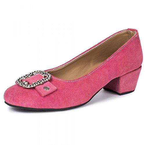 PAULGOS Damen Trachtenschuhe Dirndl Schuhe Trachten Pumps Echtes Leder Pink Gr. 36-44, Schuhgröße:43, Farbe:Pink
