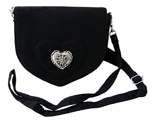 Elegante Trachtentasche im Wildleder-Look – Dirndltasche mit Herz Edelweiss Applikation fürs Dirndl (schwarz)