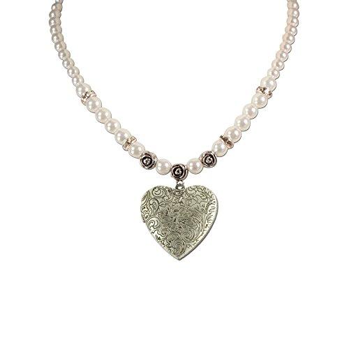 Trachtenschmuck * Trachtenkette Perlen & Amulettherz * Damen Dirndlkette * Perlenkette Trachtenherz * Oktoberfest Dirndl-Schmuck (creme-weiß)