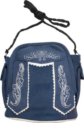 Damen Handtasche Trachtentasche Dirndl Taschen Trachten Leder-Imitat, Frabe:Dunkelblau