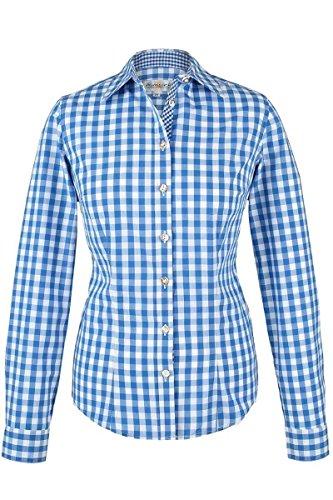 Damen Almsach Trachten-Bluse blau-weiß kariert 'Maria', blau, 42
