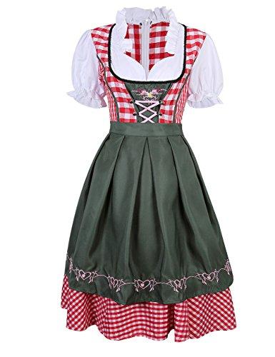 KoJooin Damen Dirndl Set Karierte Dirndlbluse Stehkeragen Trachtenkleid Oktoberfest Karneval Kostüme 2 Teilig Grün