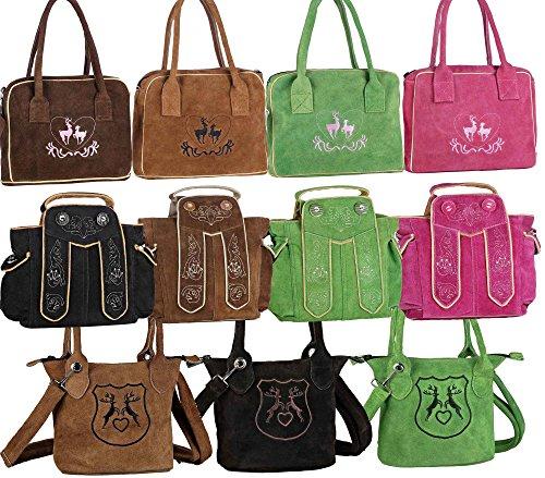 Dirndltasche Handtasche Trachten Tasche aus echtem Leder, Typ 4 – braun,